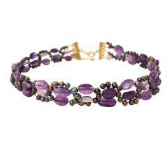 Damen Halskette Collier Amethyst Perlen Vergoldet Violett Lila