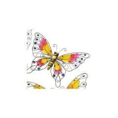 Wanddeko Schmetterling mit orange rosa Flügeln, 48 x 2 x 33 cm
