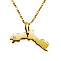 KURDISTAN Kettenanhänger mit Brillant aus 585 Gelbgold mit Halskette