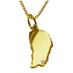 DOMINIKA Kettenanhänger mit Brillant aus 585 Gelbgold mit Halskette