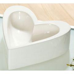 Gilde Dekoschale in Herzform creme glasiert, 17 cm