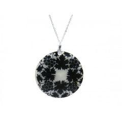 Halskette Anhänger FLOWERS 925 Silber Schwarz 5 cm