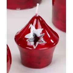 formano Zwiebelkerze Stern rot silber, 8 cm