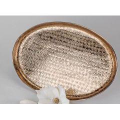 formano Deko-Tablett oval mit Hammerschlagoptik Alu Puro kupfer