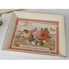 formano Deko-Tablett creme mit Rosen Lithografie-Druck, 29 cm