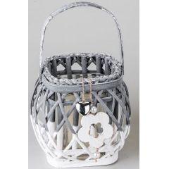 formano Windlicht mit Glaseinsatz und Blumenverzierung, 17 cm