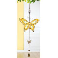 GILDE Hängedeko Schmetterling aus Glas und Metall mit Glöckchen, 79 cm
