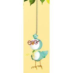 Lustige Hängedeko Vogel mit Brille in Blau, 12 cm