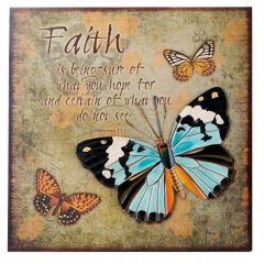 Nostalgisches Wandbild mit Schmetterling und 3D Effekten, 40 x 40 cm