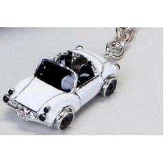 Schlüsselanhänger Cabrio, weiß, 6 cm