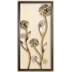 GILDE Wanddeko 2 Blumen antik braun mit Acrylsteinen, 40 x 80 cm
