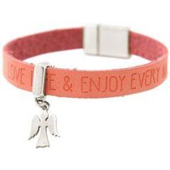 Gemshine Damen Armband Schutz Engel 925 Silber WISHES Rosa Pink