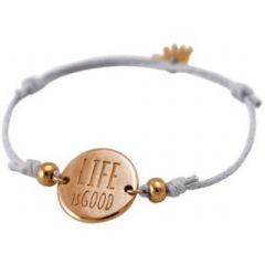 Damen Armband Gravur LIFE IS GOOD Rose Vergoldet Hellgrau