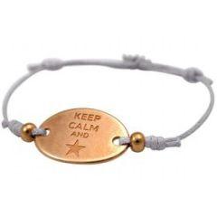 Damen Armband Gravur KEEP CALM Rose Vergoldet Hellgrau