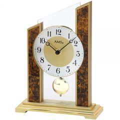 AMS 1172 Tischuhr Quarz mit Pendel Holzgehäuse Mineralglas