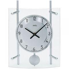 AMS 137 Tischuhr mit Pendel Quarz, silber lackierte Metallstäbe
