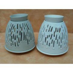 Duftlampe aus Keramik in grau oder weiß