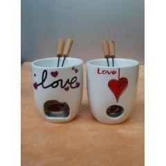 Fondue Becher LOVE aus Keramik