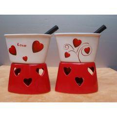 Schokoladenfondue-Set Herz aus Keramik, 15 cm hoch