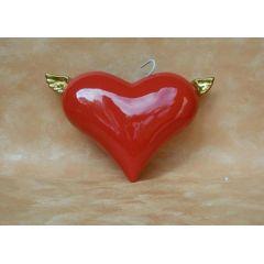 Keramikherz mit Flügeln-Luftbefeuchter Rot-Gold