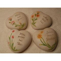 Herz mit Spruch und Blume - klein