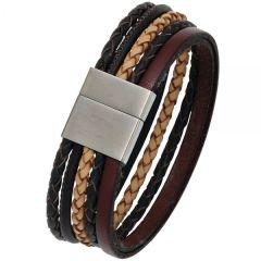 Armband Leder Magnetverschluss aus Edelstahl mattiert 20 cm