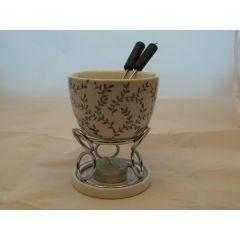 Fondue-Set aus Metall und Keramik