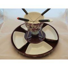 Fondue-Set-Keramik mit 4 Schalen