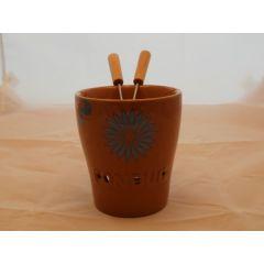 Fondue-Becher Flower aus Keramik