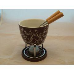 Fondue-Set mit Metallgestell aus Keramik mit Dekor