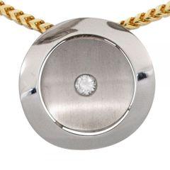 Anhänger 950 Platin teilmattiert 1 Diamant Brillant 0,06ct.