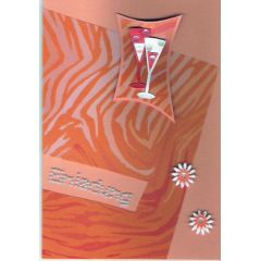 handmade Karte orange mit Sektgläsern
