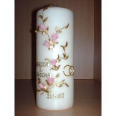 Geburtstags- Hochzeitskerze rosa Blumen
