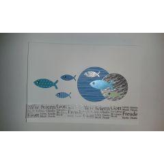 Einladungskarte Fische und Spruch Gott... in handarbeit hergestellt