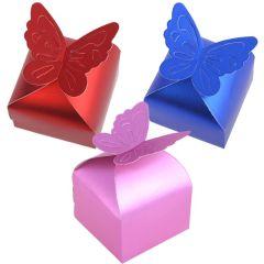Schachtel Gastgeschenk Geschenkbox Schmetterling Design, Größe nach Montage: 6*6*5.5cm Farbe: creme