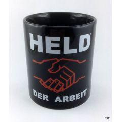 Tasse Held der Arbeit Kaffeetasse Kaffeebecher Porzellan Deko witzige sächsische Sprüche