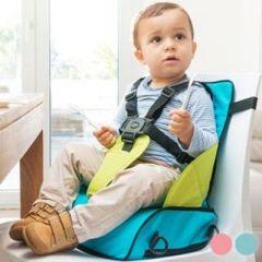 Tragbarer Stoffhochstuhl mit Erhöhter Sitzfläche, blau