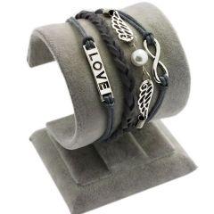 "Armband ""Liebe"" mit Flügel, grau"