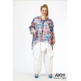 AKH Fashion Lagenlook Shirt Chiffon überweit