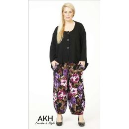Lagenlook Hose Blumen lila flieder AKH Fashion