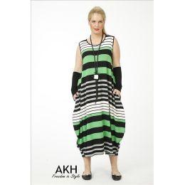 Lagenlook Kleid grün Streifen AKH Fashion