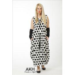 Lagenlook Kleid weiß schwarz Punkte AKH Fashion