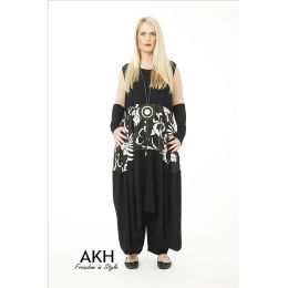 AKH Fashion Lagenlook Kleid mit Leinen