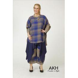 AKH Fashion Leinen-Shirt blau Übergröße