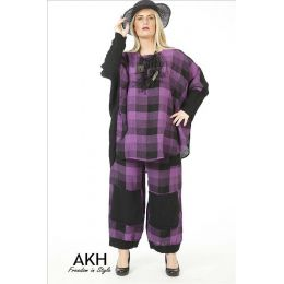 AKH Fashion Leinen-Shirt lila Übergröße