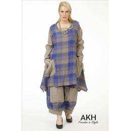 Lagenlook Leinen-Shirt blau AKH Fashion
