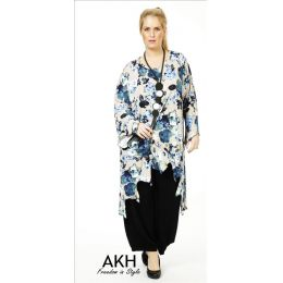 Lagenlook Tunika blau beige gezackt AKH Fashion