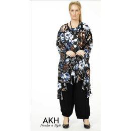 Lagenlook Tunika blau gezackt AKH Fashion