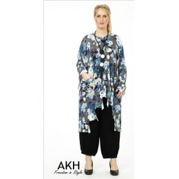 Lagenlook Tunika blau grau gezackt AKH Fashion