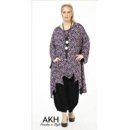 Lagenlook Tunika flieder gezackt AKH Fashion